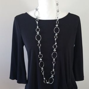 Lia Sophia Long Silver Necklace